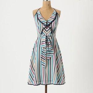 Anthropologie Gull Wing Silk Striped Dress Sz 0